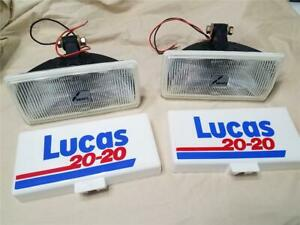Vintage Lucas 20 20 Driving Lights With Original Covers 8 X 4 Inches Nos