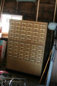 Vintage Library Bureau 60 Drawer Card File Cabinet Library Card Catalog