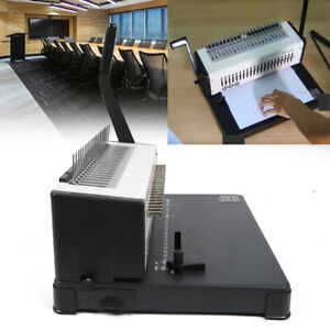 Steel Metal Coil Punching Binding Machine Paper Comb Punch Binder 21 hole Fast