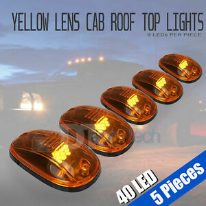5pcs Yellow Led Roof Top Truck Suv Cab Marker Running Clearance Safety Lights