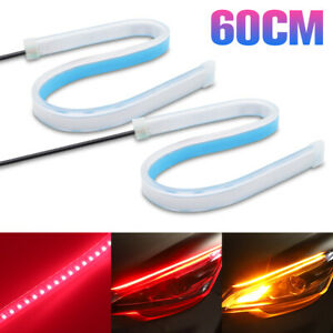 2x 60cm Led Strip Flexible Red Yellow Car Turn Signal Light Daytime Running Lamp