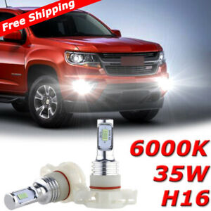 2x White 5202 H16 70w Led Fog Light Bulbs For Chevrolet Colorado Silverado 6000k