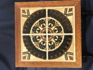 Great Mid Century Modern Optic Design Four Section Tile In Wood Frame 7 3 4 Wide