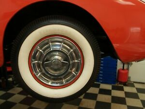 1956 1957 Corvette Rims Wide White Wall Tires 670 15 Firestone And Hub Caps