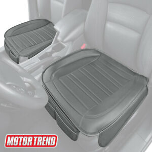 Motor Trend Universal Car Front Seat Cushion Gray Faux Leather 2 pack