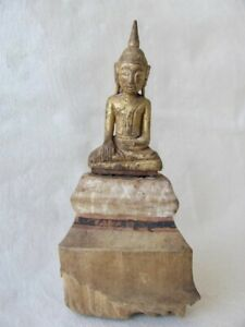 Antique Thai Southeast Asian Seated Wood Buddha Figure From Thailand