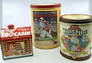 Lot Of 3 Vintage Tin Cans Log Cabin Cracker Jack Tootsie Roll 1980s 1990s