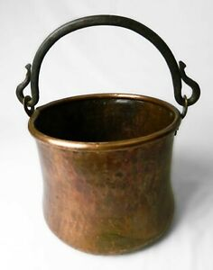 Antique Copper Cauldron Pot Hand Hammered Dovetailed Forged Wrought Iron