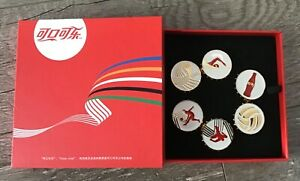 2016 RIO  OLYMPIC COCA COLA BOTTLE CAP CHINA PIN SET 6 PINS WITH BOX