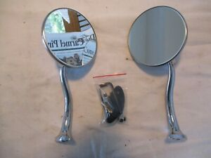 Outside Rear View Mirrors Round Swan Neck Style Arm Polished Ford