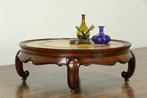 Round Vintage Cherry Coffee Table Tooled Leather Top 33317