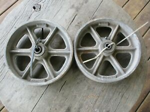 2 Large Vintage Cast Iron Wheels Casters 2 X 8 Albion Co Steampunk Upcycle