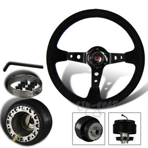 For 1992 1995 Honda Civic Jdm 350mm 6 Hole Black Deep Dish Steering Wheel Hub