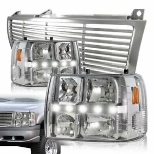 For 1999 2002 Chevrolet Silverado Led Drl Conversion Chrome Headlight Grille