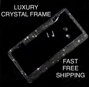 1 Black Diamond Crystal Metal License Plate Frame Caps Made With Swarovski Bling