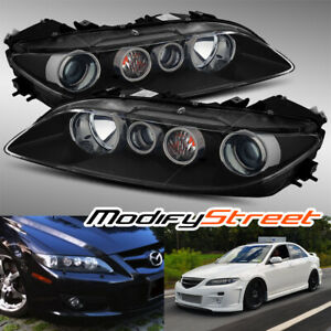 Jdm Black Crystal Projector Headlights Assembly Left right For 2006 2008 Mazda 6