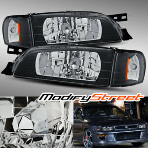 Jdm Look Black Crystal Headlights corner Lamps For 95 01 Subaru Impreza 2 5rs