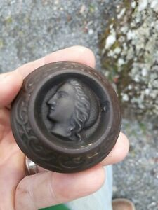 Early Russell Erwin Antique Victorian Lady Figural Door Knob Heavy Cast Iron