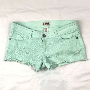Mudd Juniors Mini short Shorts Sz 7  Laced Green Flat Front Fray Hem $24.99