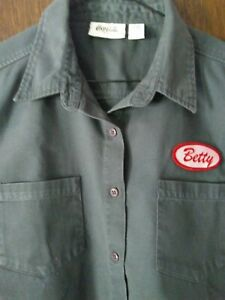 Vintage Coca Cola Ware Gray Button Front Work Shirt Dickies Style Ladies M BETTY