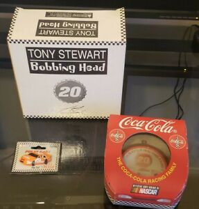 Tony Stewart Coca cola collectables BobbleHead Christmas Ornament and Car pin