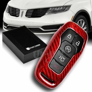 For Ford Mustang Edge F150 Fusion Real Red Carbon Fiber Remote Key Shell Cover
