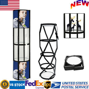 81 Round Portable Aluminum Spiral Tower Display Case W shelves