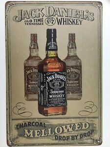 Jack Daniels Sign Old Time Tennessee Wiskey Mellowed metal tin Bar Old NO. 7