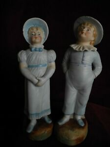 Pair Darling Antique Boy Girl Pre 1900 Victorian Bisque Figurines