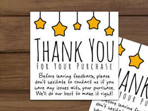 100 Thank You For Your Purchase Gold Stars Stickers Ebay Labels Personalized