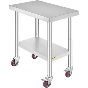 30 x18 Kitchen Work Table With Wheels Shelving Rolling Adjustable Undershelf