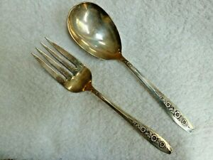 One Used 1952 Wm Rogers Son Primrose Silver Plate Silverware Serving Fork