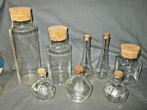 8 Antique Clear Glass Apothecary Bottles Cork Stoppers Jars Pharmaceutical