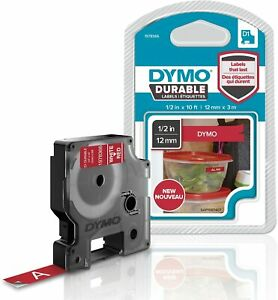 Dymo D1 Durable Labeling Tape White Print On Red 12mm New In Pack 1978366