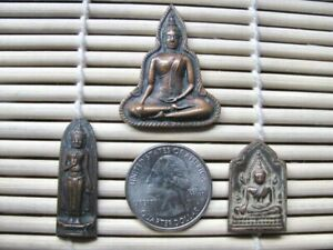 Three Vintage Thai Metal Buddhist Amulets Talismans