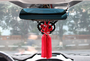 2in1 Chinese Red Kiku Knot Black Jp Kin Rope For Car Rearview Mirror Vip Charms