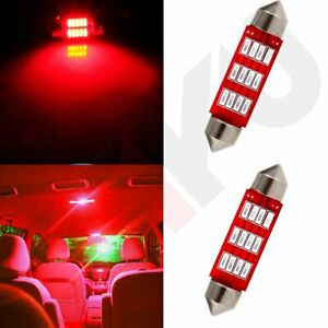 2x Interior Festoon 41mm Red Light Bulbs 4014 12smd Car Smd Led Dome Map Lamp Us