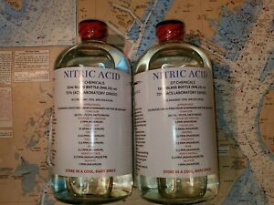 Dt Nitric 70 Acid Tw0 32oz Glass Bottles High Purity Hno3 Gold Refining