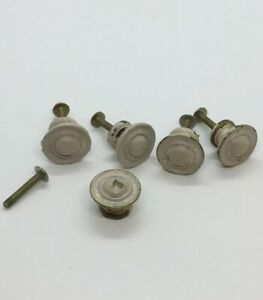 Lot Of 5 Vintage Solid Heavy Brass Drawer Pulls Or Knobs With Old Paint 1 X3 4