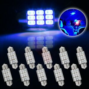 10x Festoon Blue Samsung 5730 Led 36mm Error Free Interior License Plate Light