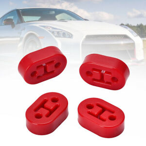 4pcs Universal Car Polyurethane Rubber 2 Hole 10mm Exhaust Muffler Hanger Red