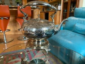 Gorgeous Unusual Vintage Silverplate Engraved Teapot On Hinged Stand