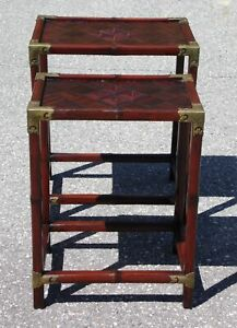Vintage Pair Bamboo Campaign Style Nesting Tables End Tables Nightstands