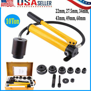 10ton 6 Dies Hydraulic Knockout Punch Hand Pump Hole Tool Driver Kit W Case Hot