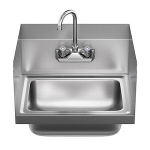 Kitchen Hand Washing Sink Commercial Stainless Steel Single Bowl Basin W Faucet