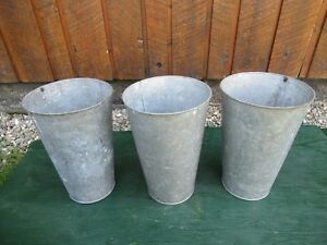 Beautiful Antique 3 Old Galvanized Maple Syrup Buckets Tapered Style Bucket Pail