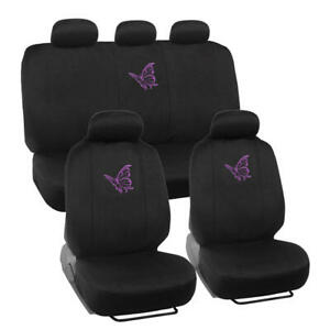 Purple Butterfly Car Seat Covers Front Rear Full Set Accessory Universal Fit