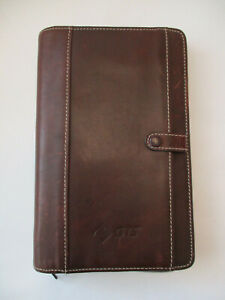 Filofax Personal Zipped Brown Leather Exterior Slip Pocket Planner Binder