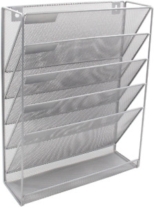Mesh Wall Hanging File Holder Organizer Mounted Document Tray Silver