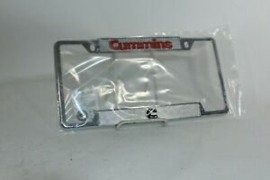 Dodge Ram Cummings Zinc Metal Chrome Plated License Plate Frame Red Letters Logo